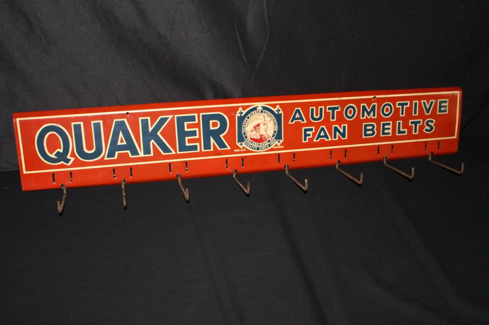 QUAKER RUBBER CO AUTOMOTIVE FAN BELTS RACK SIGN
