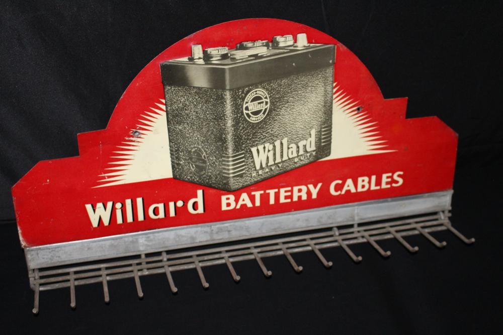 WILLARD BATTERY CABLES RACK SERVICE STATION SIGN