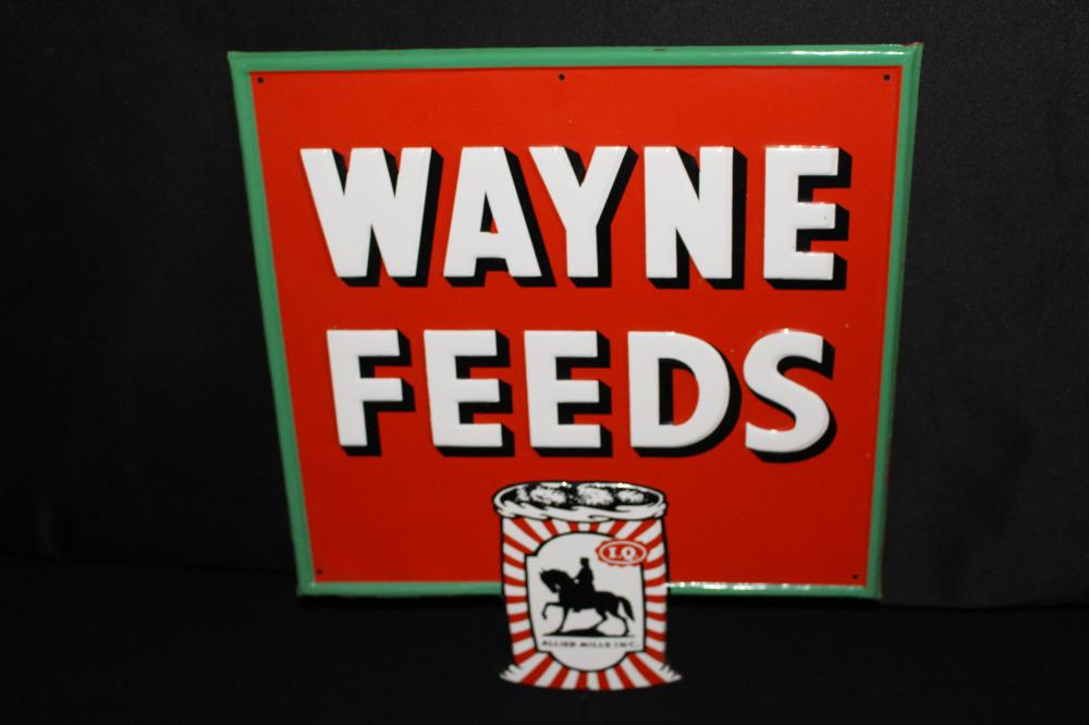 NOS WAYNE FEEDS ALLIED MILLS TIN FARM SIGN
