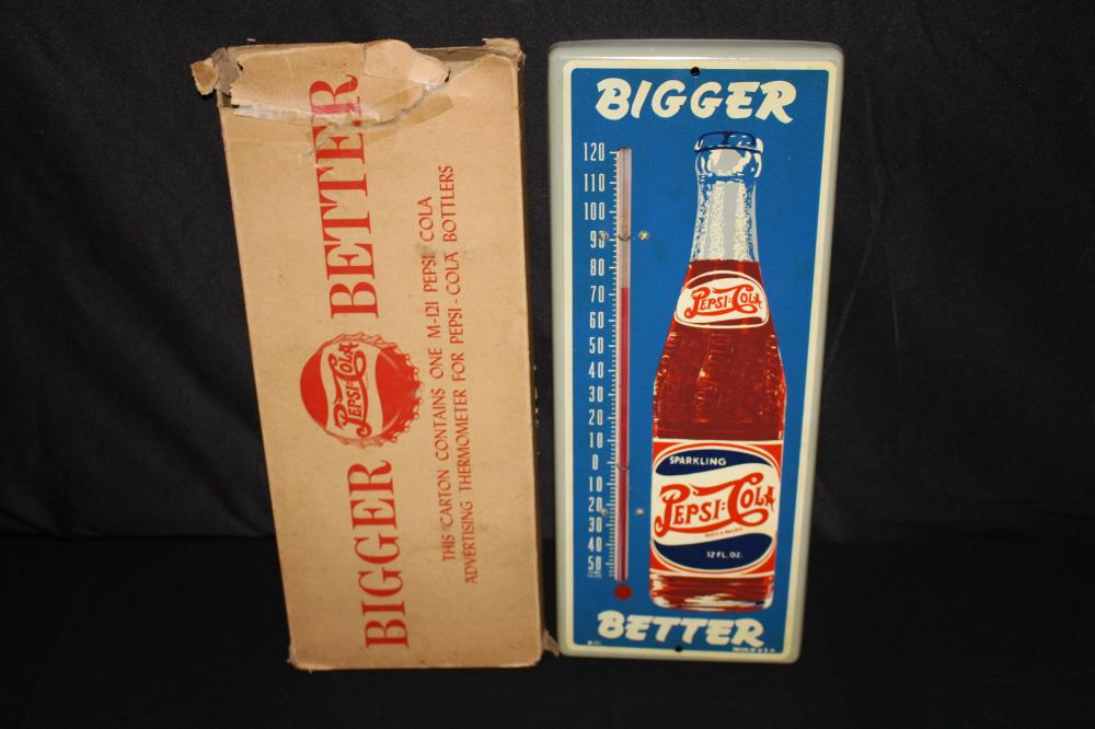 NOS DOUBLE DOT PEPSI COLA THERMOMETER SIGN