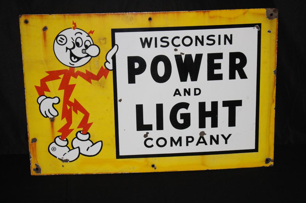 PORCELAIN REDDY KILOWATT WISCONSIN POWER SIGN
