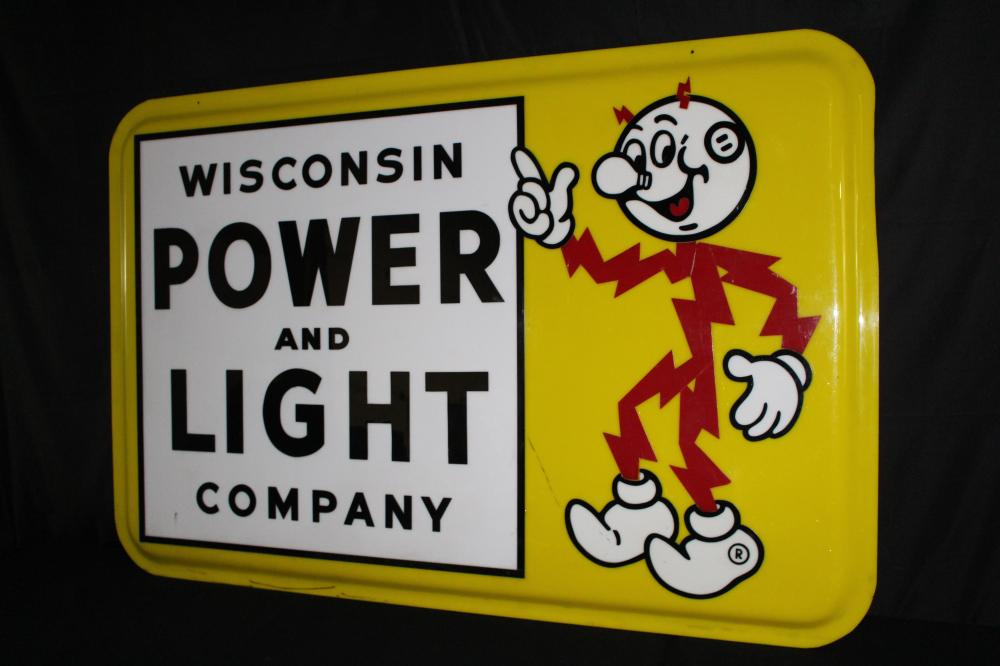 LARGE REDDY KILOWATT WISCONSIN POWER SIGN