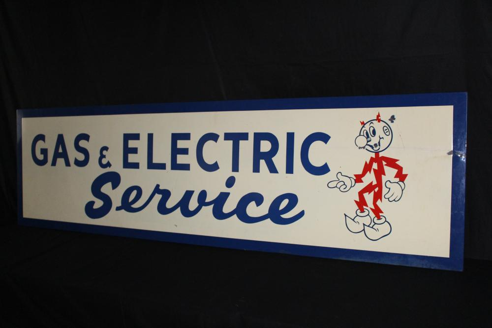PORCELAIN REDDY KILOWATT ELECTRIC GAS SERVICE SIGN