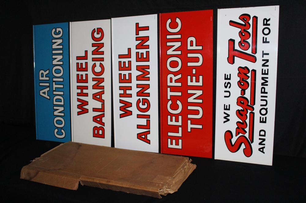 SET OF 5 SNAP ON TOOLS MECHANICS SHOP SIGN