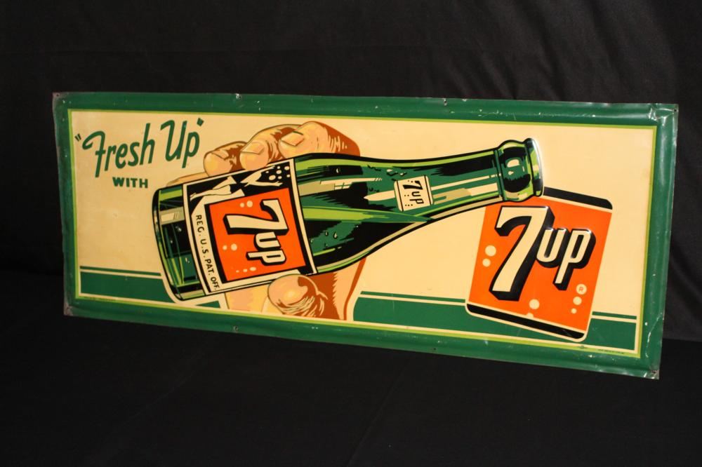 FRESH UP WITH SEVEN UP 7UP SODA POP SIGN