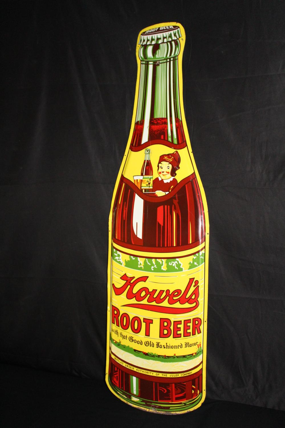 HOWELS ROOT BEER BOTTLE SODA POP BOTTLE TIN SIGN