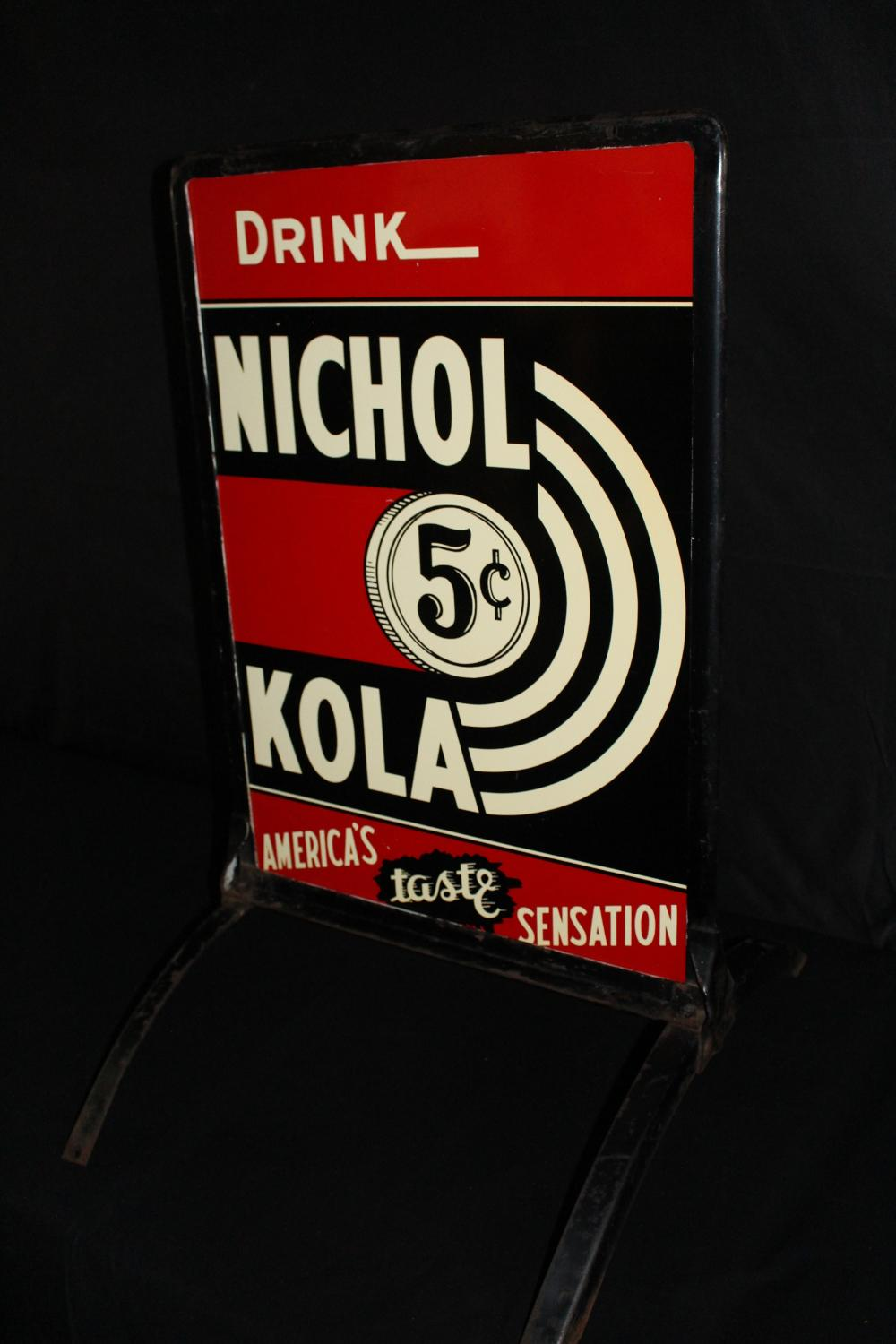 DRINK 5 CENT NICHOL COLA SODA POP CURB SIGN