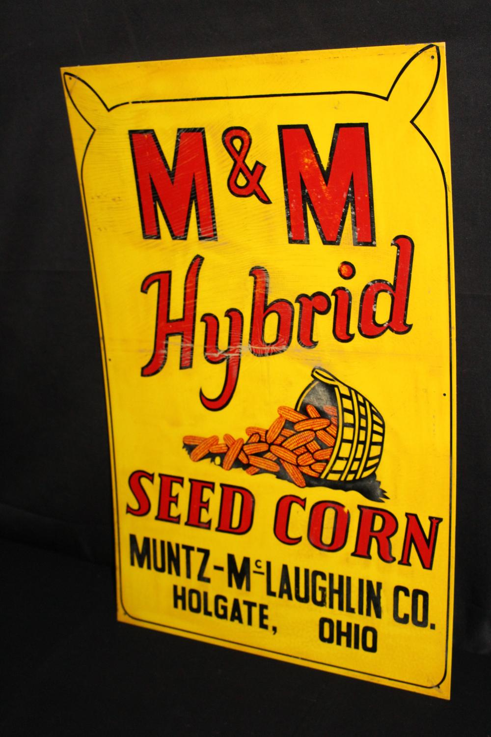 M&M HYBRID SEED CORN SIGN HOLGATE OHIO