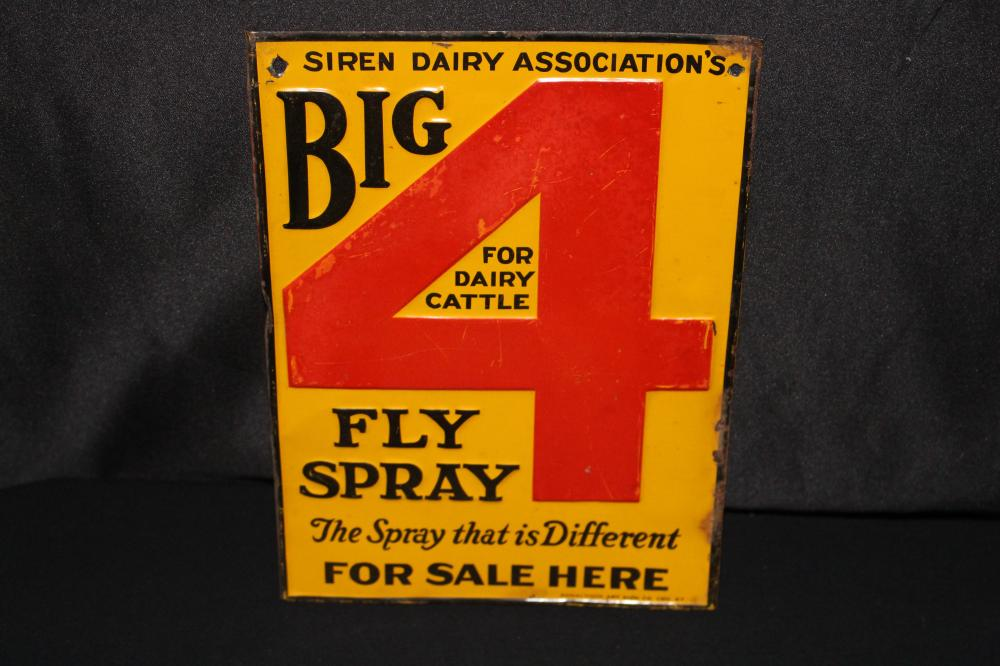 SIREN DAIRY ASSN BIG 4 FLY SPRAY TIN FARM SIGN