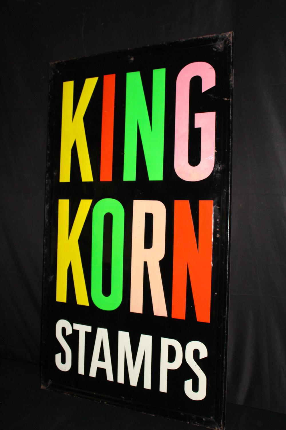 KING KORN STAMPS TIN SIGN FUNKY COLORS
