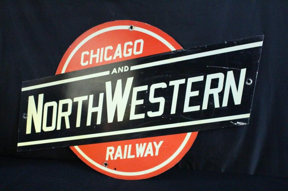 CHICAGO & NORTHWESTERN RAILWAY RAILROAD SIGN