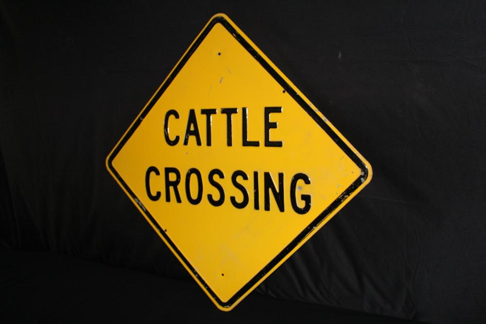 EMBOSSED STEEL CATTLE CROSSING ROAD HWY SIGN