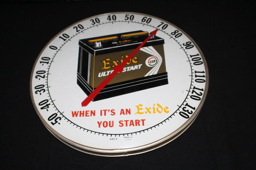 "EXIDE ULTRA START 18"" DIAMETER THERMOMETER SIGN"