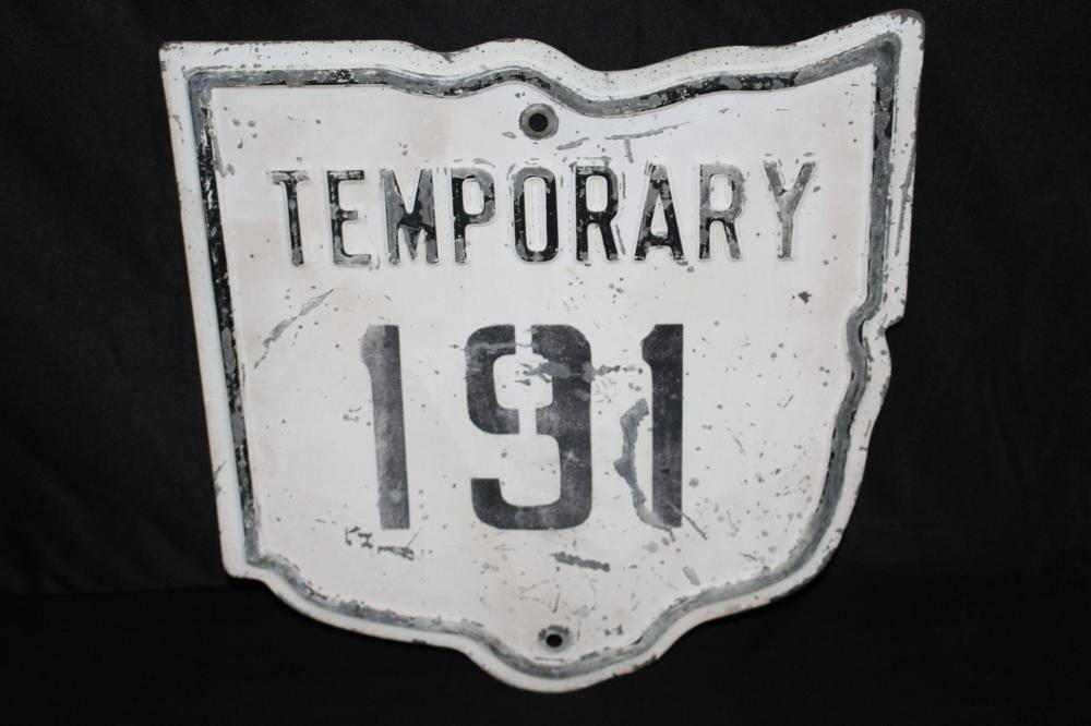 RARE EMBOSSED TEMPORARY OHIO HWY 191 ROAD SIGN