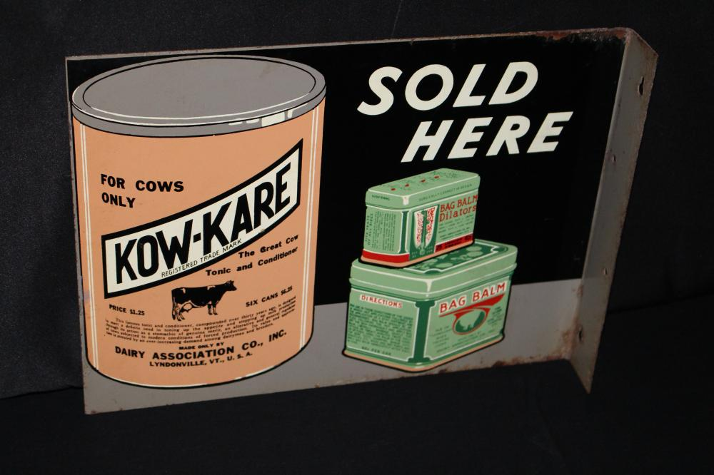 KOW KARE BAG BALM LIVESTOCK FARM FLANGE SIGN
