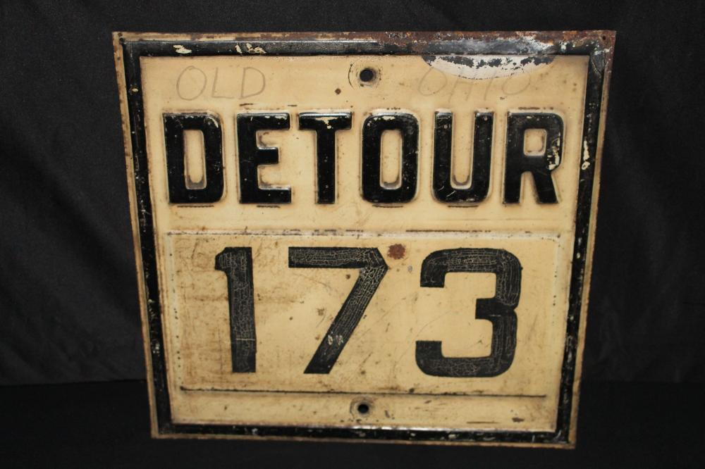 RARE EMBOSSED OHIO 173 DETOUR HWY ROAD SIGN