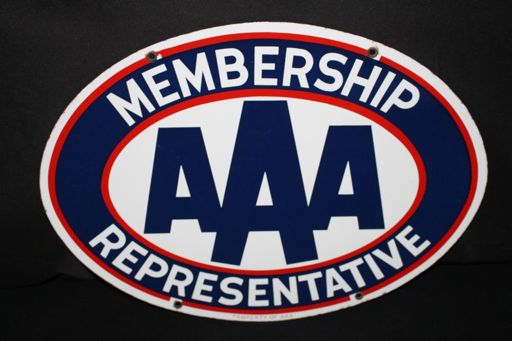 PORCELAIN AAA MEMBERSHIP REPRESENTATIVE SIGN