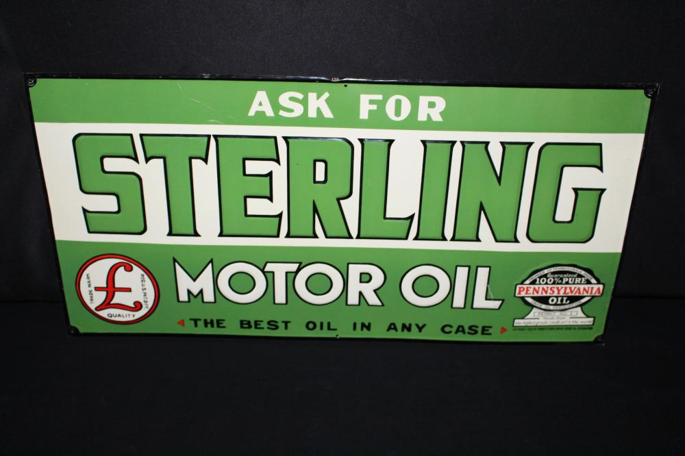 NOS STERLING MOTOR OIL TIN SIGN