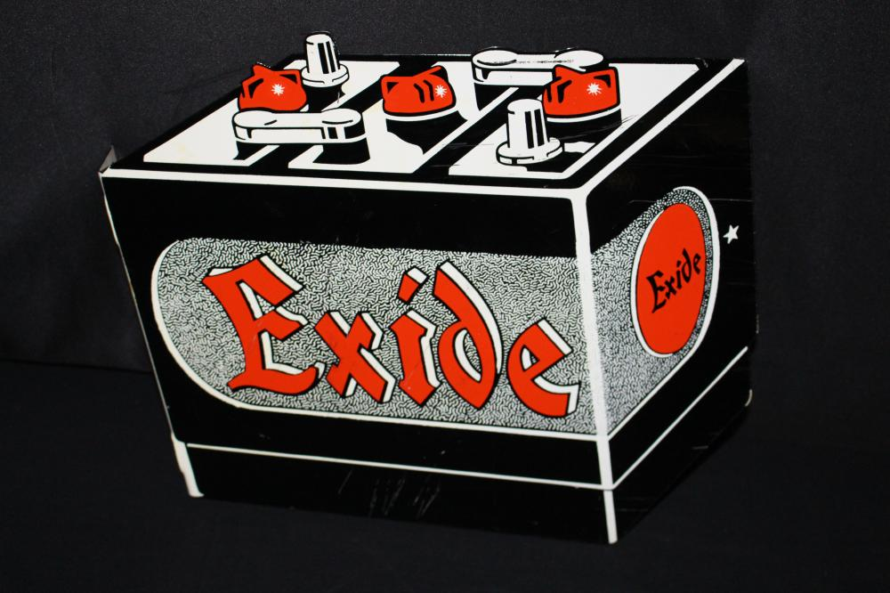 NOS EXIDE BATTERY DIE CUT FLANGE SIGN
