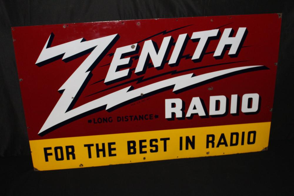 PORCELAIN ZENITH LONG DISTANCE RADIO SIGN