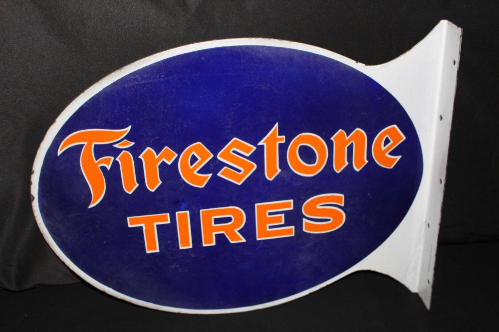 PORCELAIN FIRESTONE TIRES FLANGE SIGN