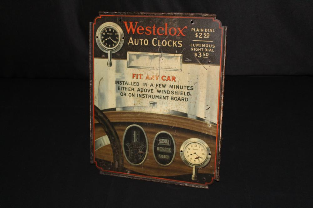 TIN LITHO WESTCLOX AUTO CLOCKS TIN SIGN DISPLAY