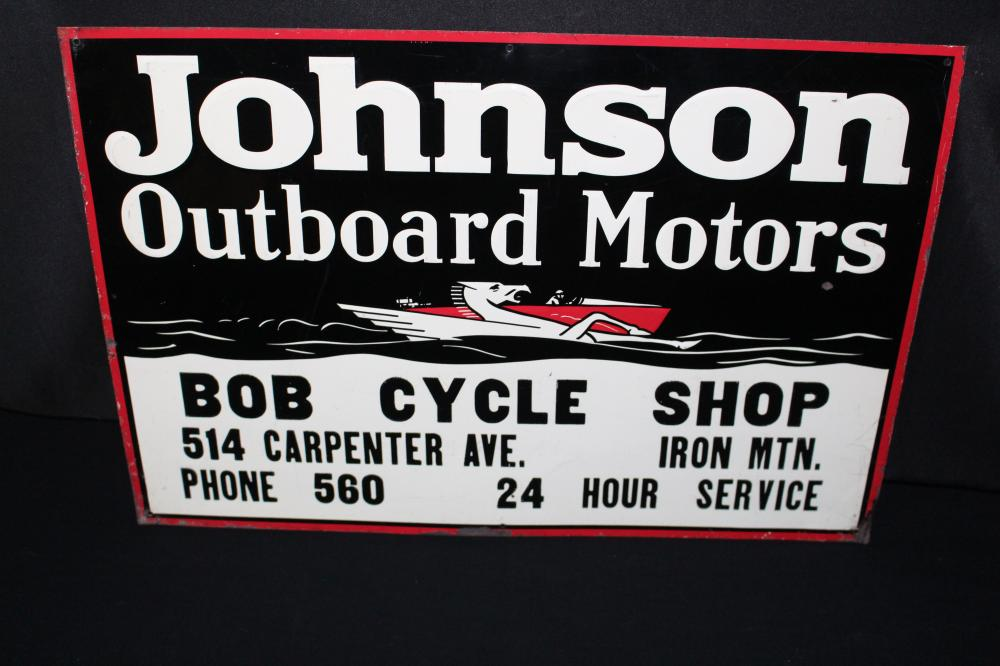 JOHNSON OUTBOARD MOTOR SIGN IRON MOUNTAIN MI