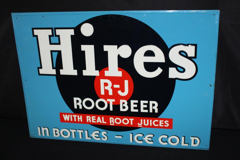 NOS HIRES ROOT BEER TIN SODA POP SIGN