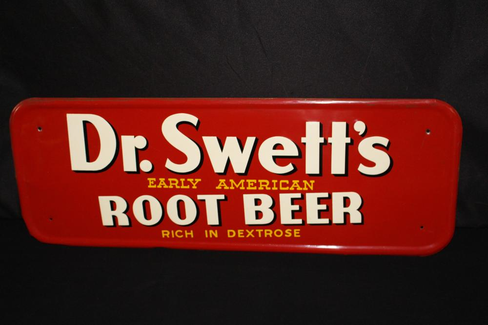 NOS DR SWETTS ROOT BEER TIN SODA POP SIGN