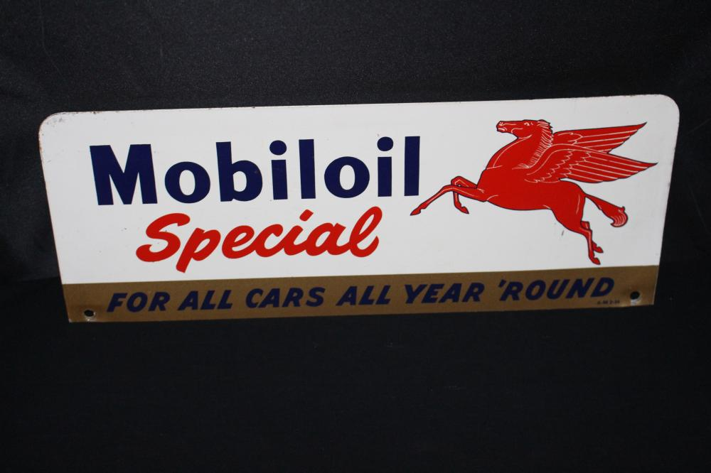 MOBILOIL SPECIAL 2 SIDED OIL RACK SIGN