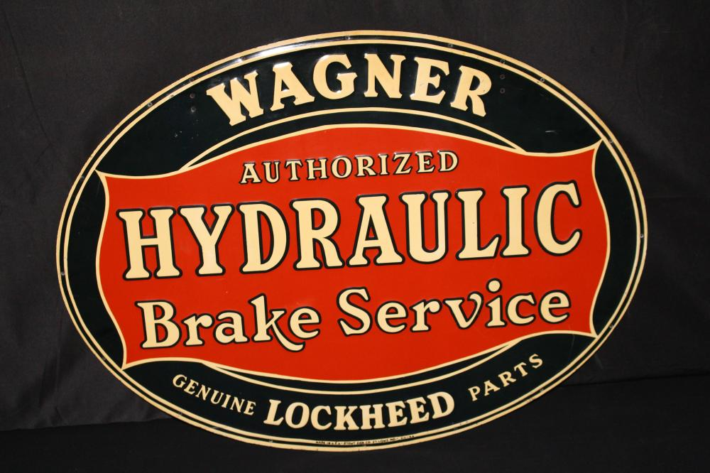 WAGNER HYDRAULIC BRAKE SERVICE TIN SIGN