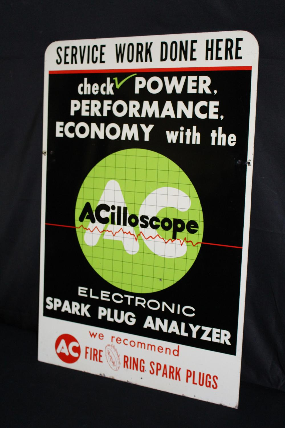AC ACILLOSCOPE FIRE RING SPARK PLUGS SIGN