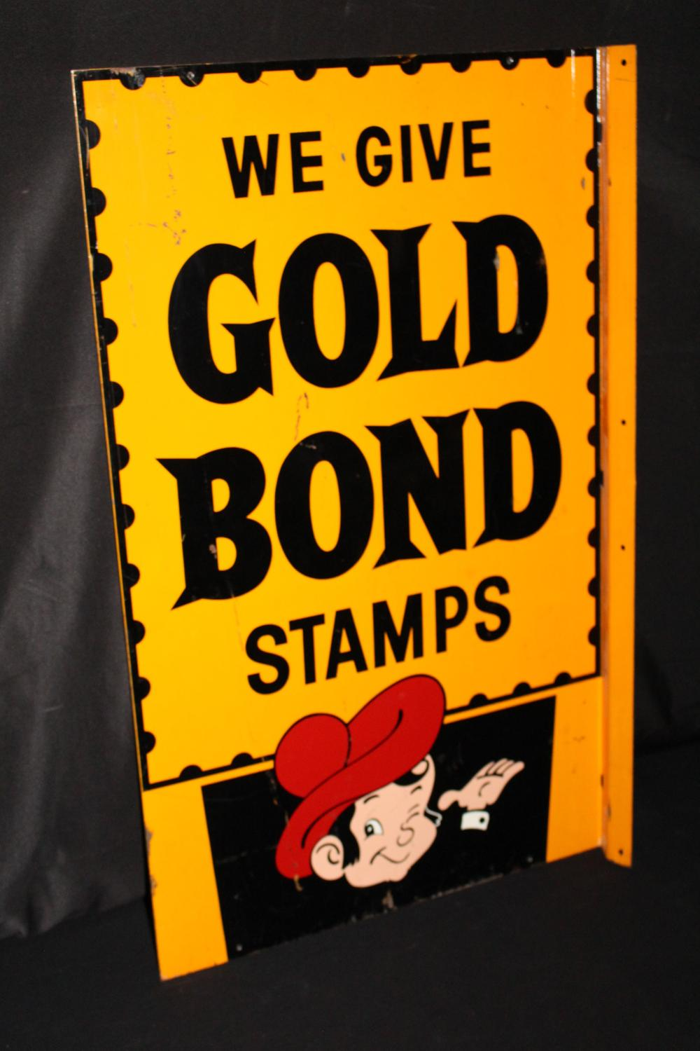 WE GIVE GOLD BOND STAMPS FLANGE SIGN