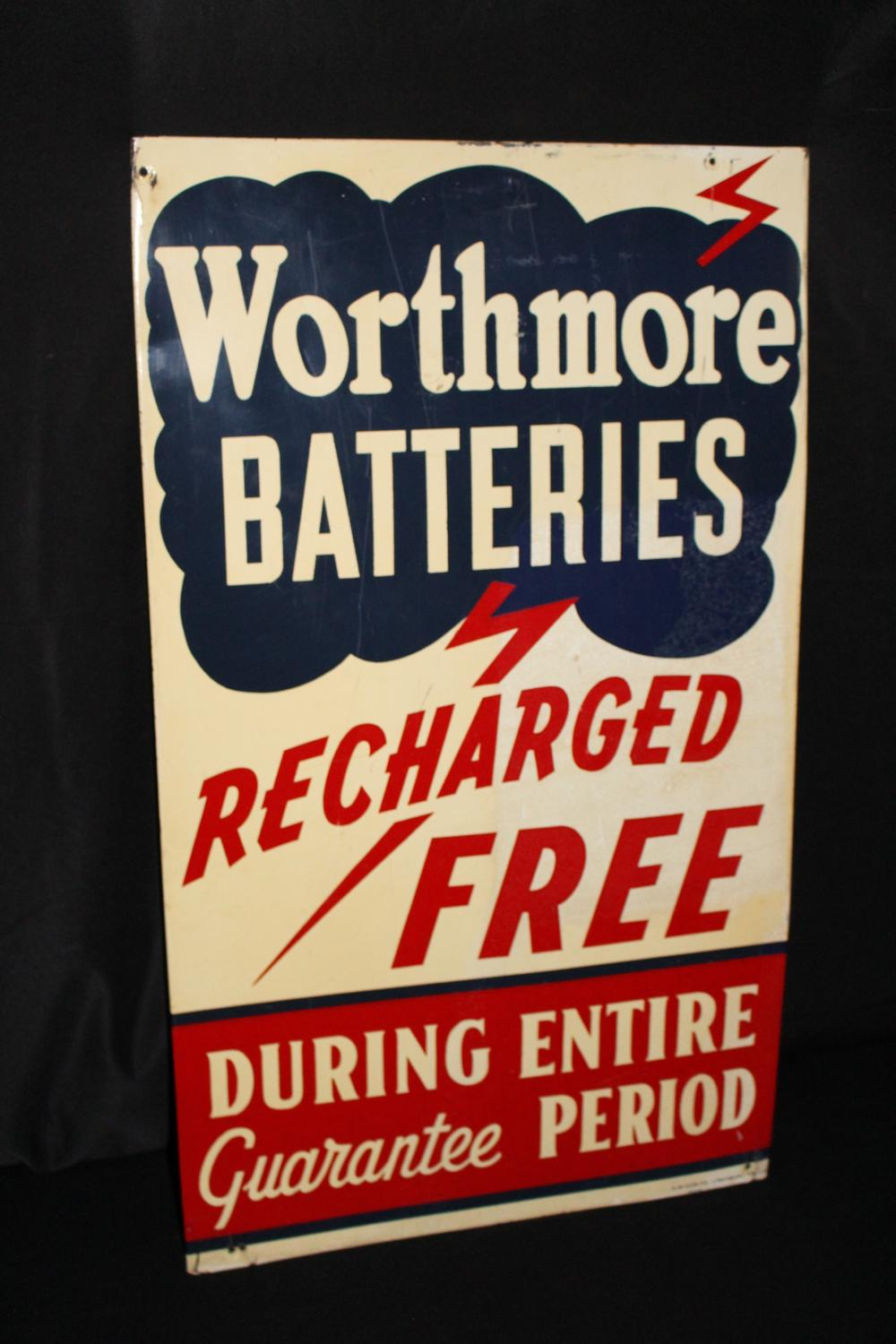 WORTHMORE GASOLINE GAS STATION BATTERIES SIGN
