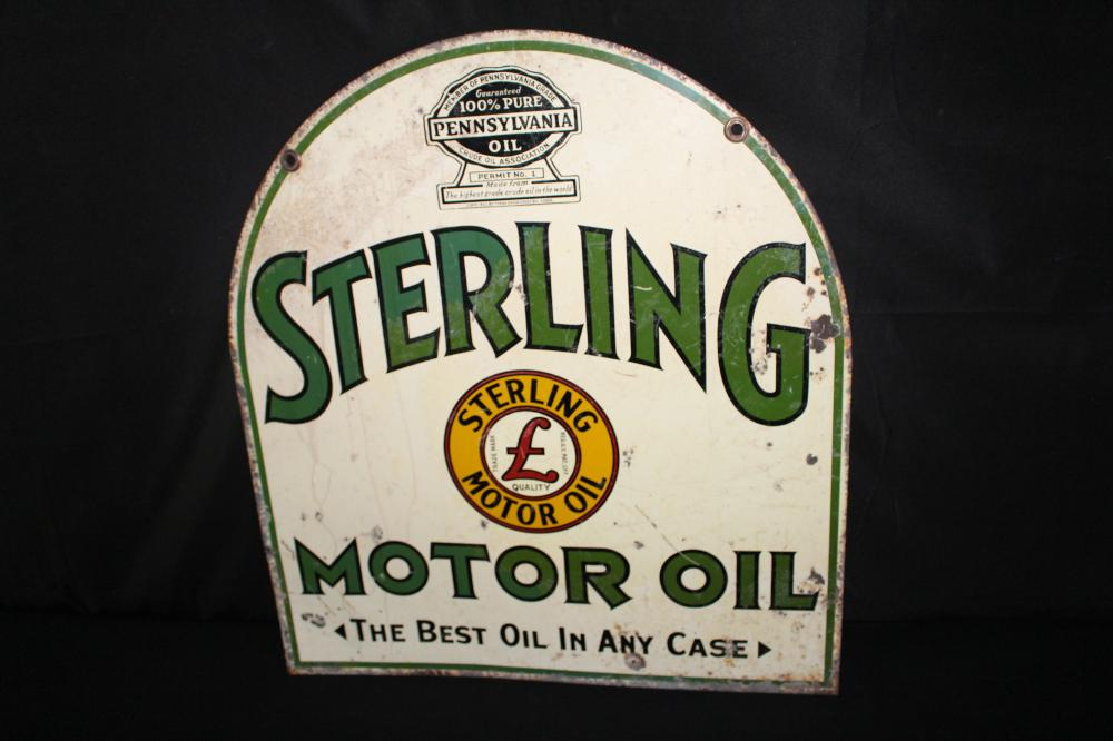 STERLING MOTOR OIL TIN TOMBSTONE SIGN