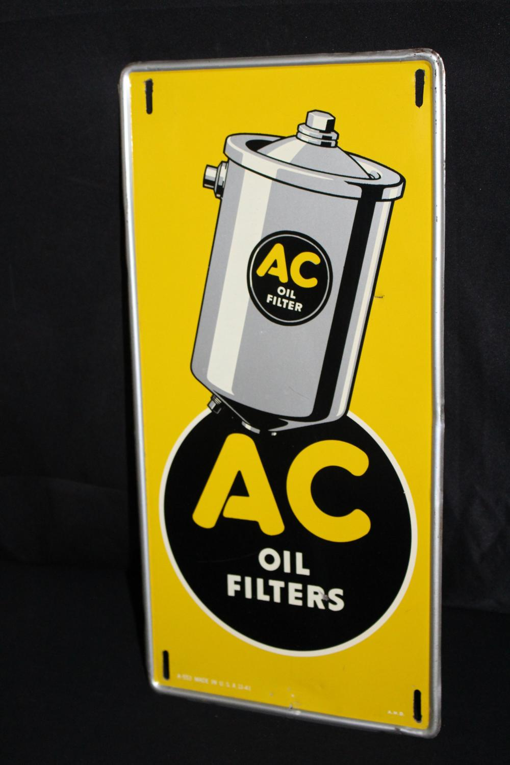 AC OIL FILTERS TIN SIGN