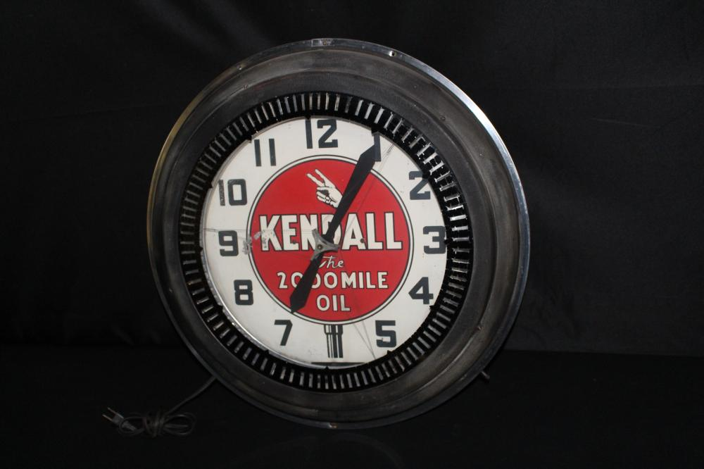 KENDALL 2000 MILE MOTOR OIL NEON SPINNER CLOCK