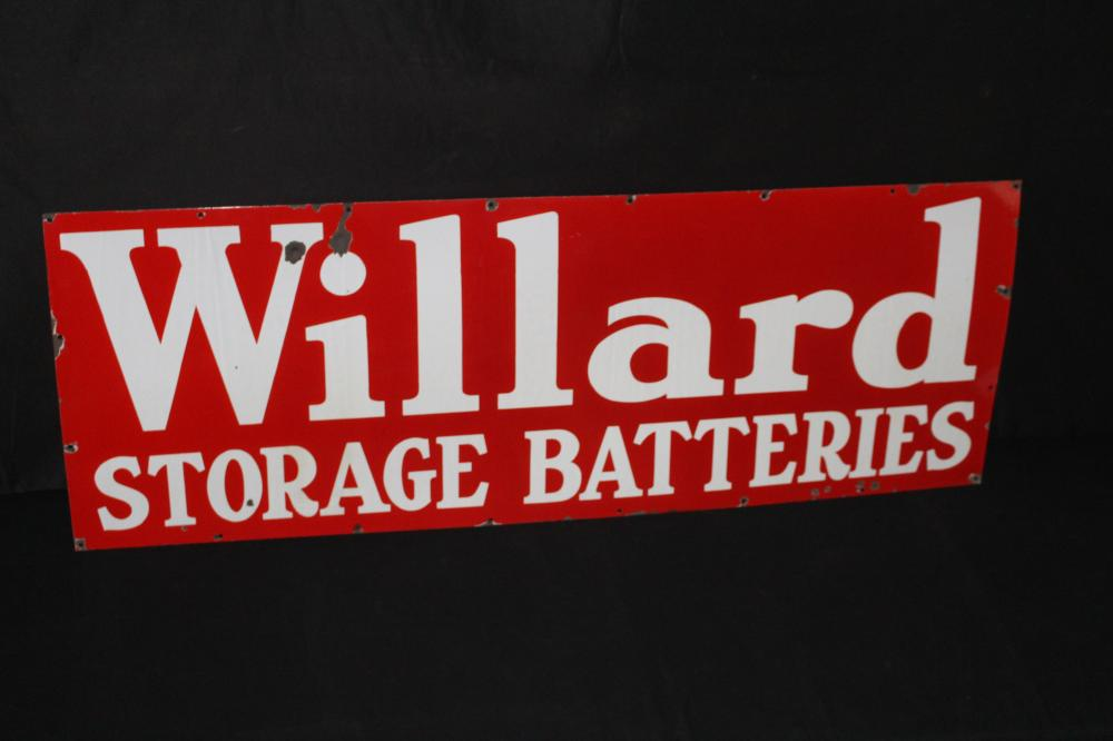 PORCELAIN WILLARD STORAGE BATTERIES SIGN