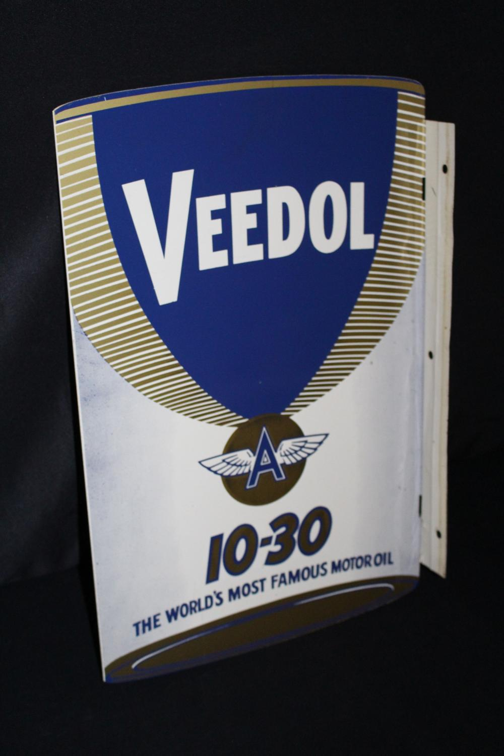 VEEDOL MOTOR OIL CAN FLANGE SIGN