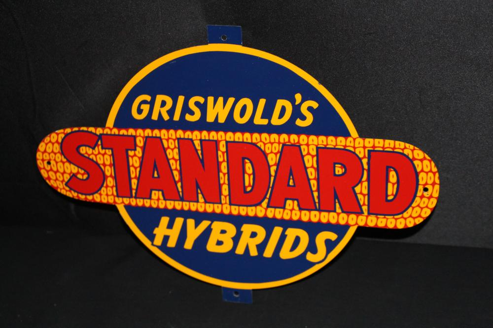 GRISWOLDS STANDARD HYBRID SEED CORN TIN FARM SIGN