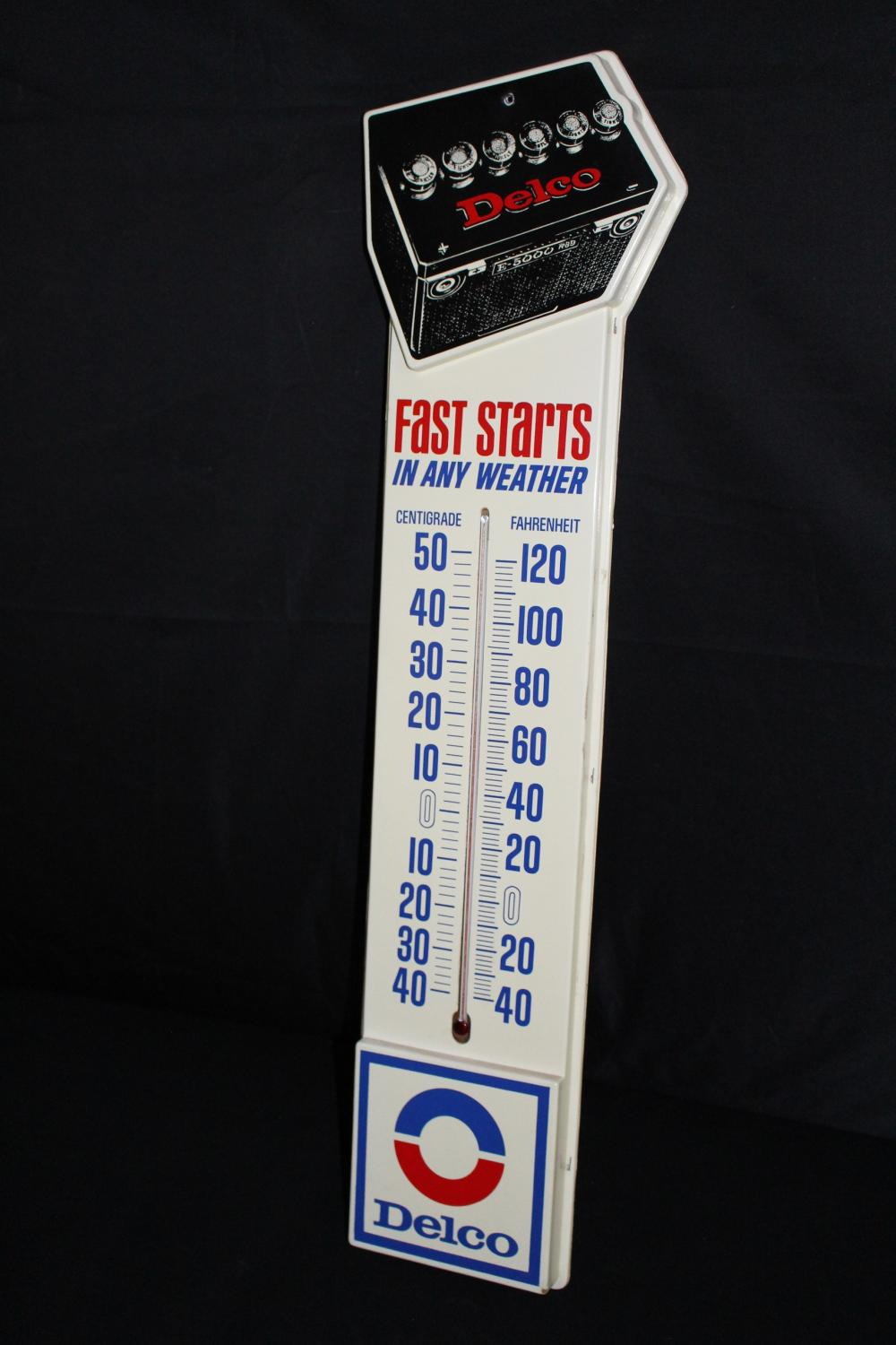 DELCO BATTERY BATTERIES THERMOMETER SIGN