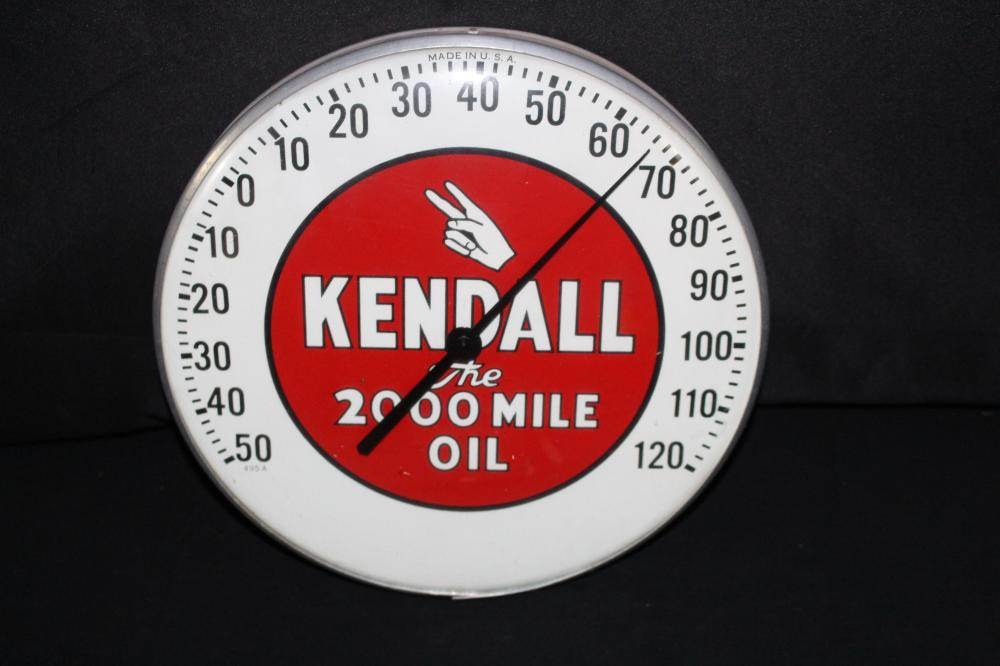 KENDALL 2000 MILE MOTOR OIL THERMOMETER SIGN