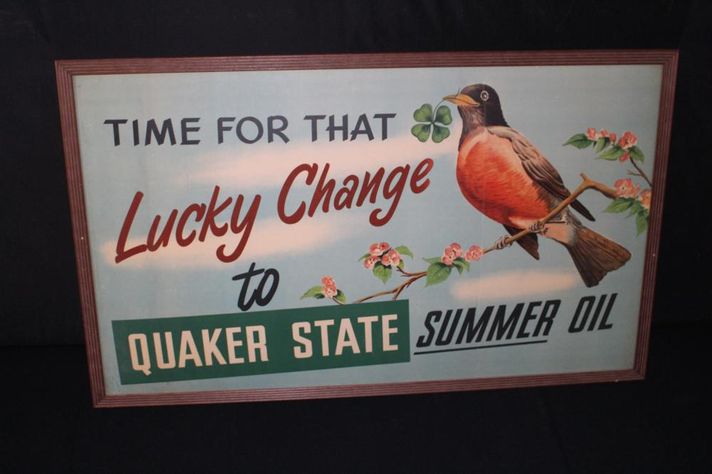 LARGE QUAKER STATE MOTOR OIL CARDBOARD SIGN