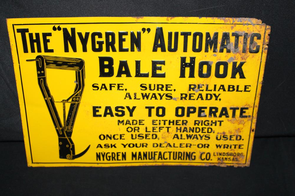 NYGREN AUTOMATIC BALE HOOK LINDSBORG KS SIGN