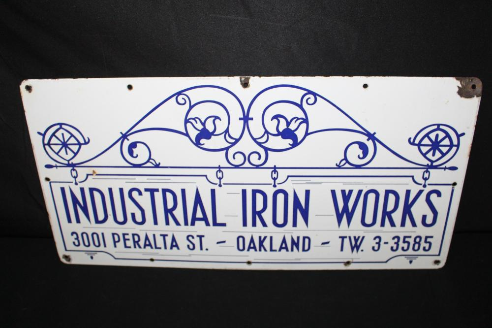 PORCELAIN INDYSTRIAL IRON WORKS OAKLAND CA SIGN