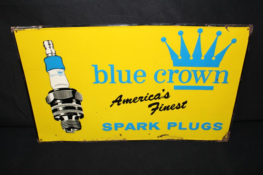 BLUE CROWN AMERICAS FINEST SPARK PLUG SIGN