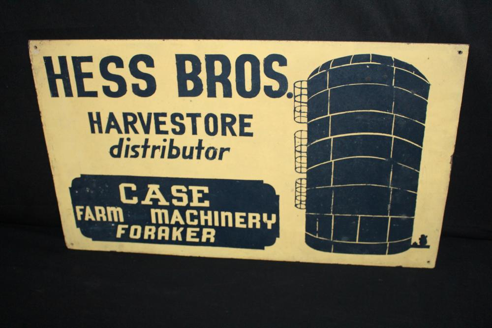 HESS BROS HARVESTORE SILO JI CASE DEALER SIGN