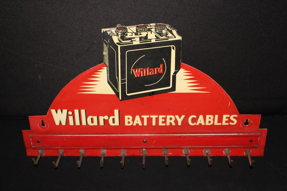 WILLARD BATTERY BATTERIES CABLE RACK TIN SIGN