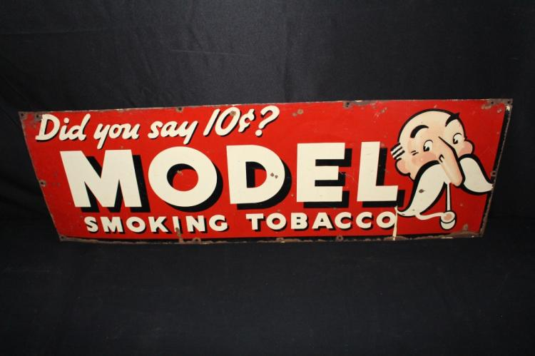 MODEL SMOKING TOBACCO TIN COUNTRY STORE SIGN