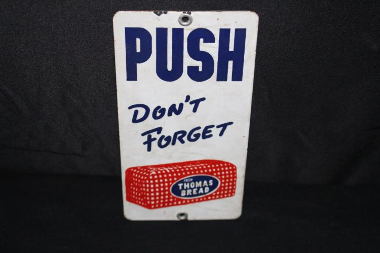 PORCELAIN DONT FORGET THOMAS BREAD DOOR PUSH SIGN